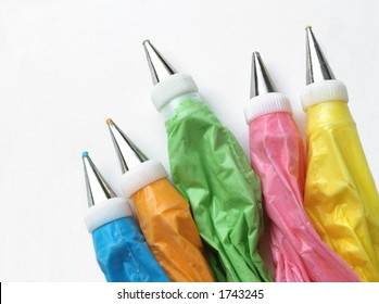 colorful bags full of frosting