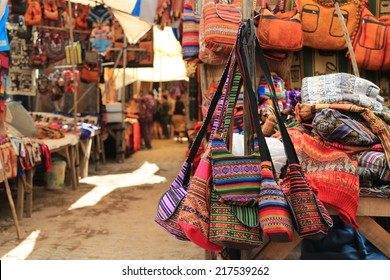 Colorful Bags in local market of Cuzco, Peru