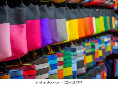 colorful bags on display in the store