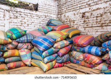 Colorful bags used in the production of coffee near Manizales, Colombia