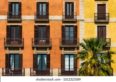 Colorful balconies in Barcelona