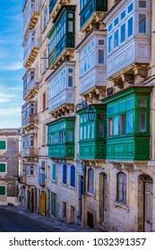 Colorful balcony of Valletta Malta, balcony`s of Malta
