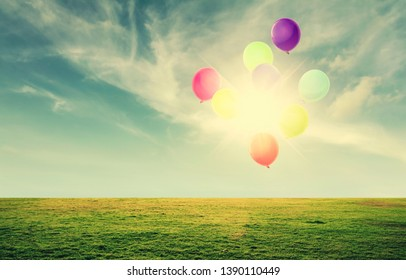 colorful balloon in field with sun sky