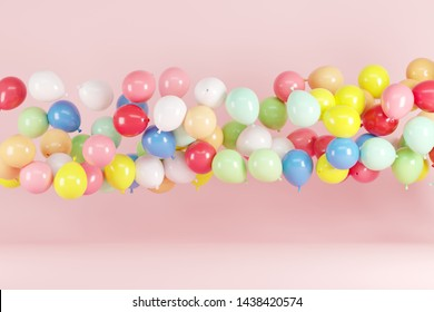 Colorful Balloon Floating on Pink background. minimal idea concept.