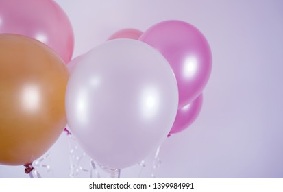 Colorful balloons background, Many blown balloons on wall,Bunch of balloons isolated on background