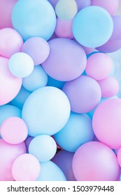 Colorful balloons background, punchy pastel colored and soft focus. pink and mint balloons photo wall birthday decoration