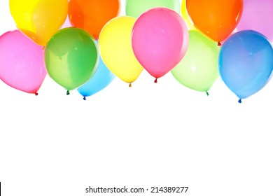 colorful balloons background with white space for text