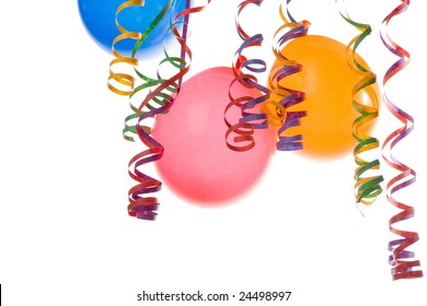 colorful balloons and confetti isolated on white background