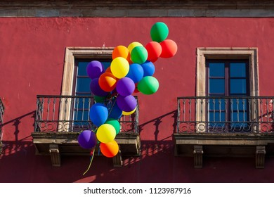 Colorful balloons as decoration for the gay pride day celebration in a house