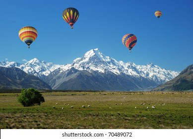 Colorful balloons floating over Mt. Cook