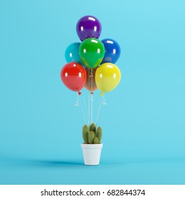Colorful Balloons Floating with white flowerpot Cactus on blue background. minimal concept idea.