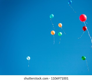 Colorful Balloons Flying Up In The Sky, Copyspace