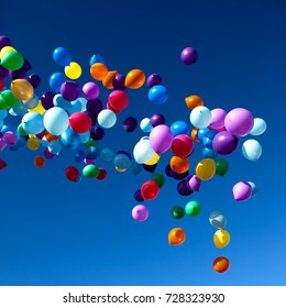 Colorful Balloons flying in the sky party