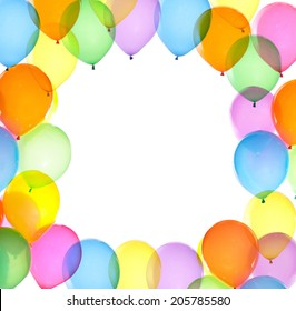 colorful balloons frame white background