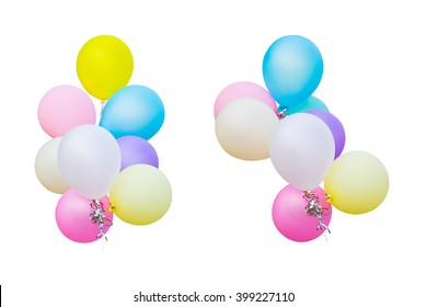 colorful balloons on isolated white background