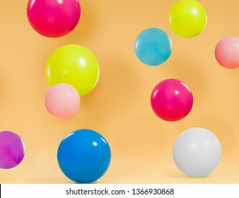 Colorful balloons with orange background