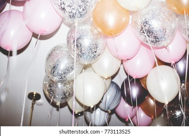 Colorful balloons in a party