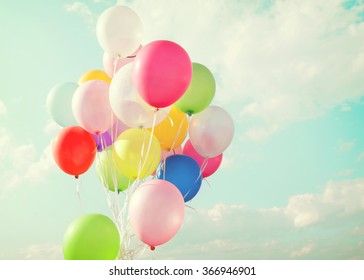 Colorful balloons of party in holiday - Vintage pastel tone