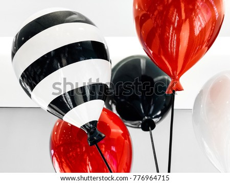 Colorful Balloons Red Black White Stripes Stock Photo Edit Now