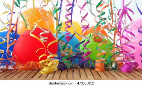 Colorful balloons and streamers on wooden table with white background
