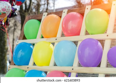 Colorful balloons as targets. The photo was taken in the children's park.