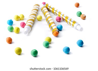 colorful balls and blowpipe isolated on white background