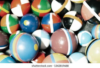 Colorful balls with various textures. Background and abstract concept.