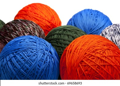 Colorful balls of yarn, close-up