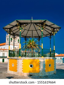 Colorful bandstand in Nazaré, Portugal