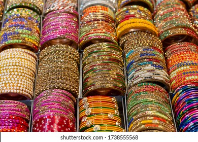 Colorful Bangles on display for women in India - Shutterstock ID 1738555568
