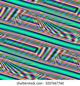 Colorful bars and stripes intersecting with fractal noise