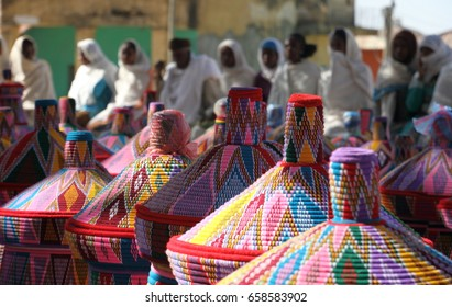 Colorful Basket Market and Vendors - Axum, Ethiopia (Dappled Light)