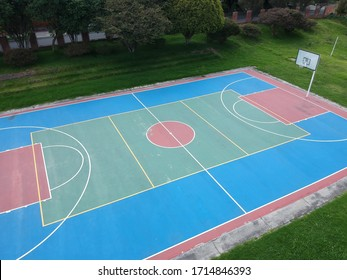 Colorful basketball court in Cedritos Park