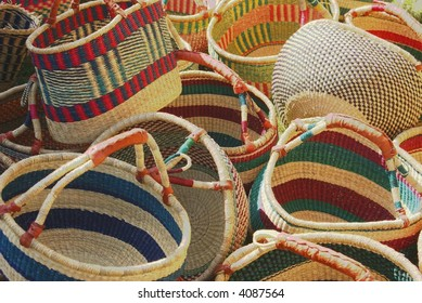 Colorful baskets at a market