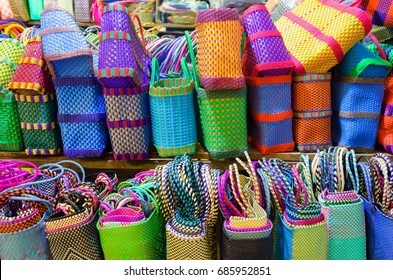 Colorful baskets for sale in a market in Oaxaca, Mexico