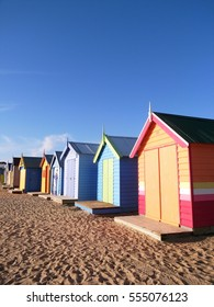 Colorful bath houses, Brighton Beach in Melbourne
