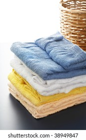 Colorful bath towels stacked.