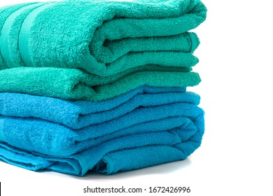 colorful bathing towels isolated on a white background.
