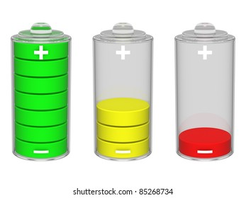 Colorful battery icon. Isolated on the white background.