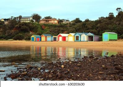 Colorful beach bathing boxes at Earimil beach, Mornington Peninsula, Victoria, Australia