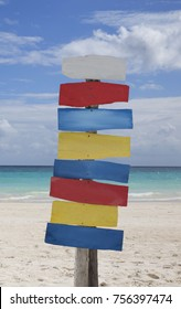 Colorful beach blank sign