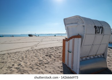 colorful beach chairs on the beach in beautiful weather