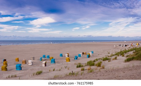 Colorful beach chairs on the island of Juist, Germany