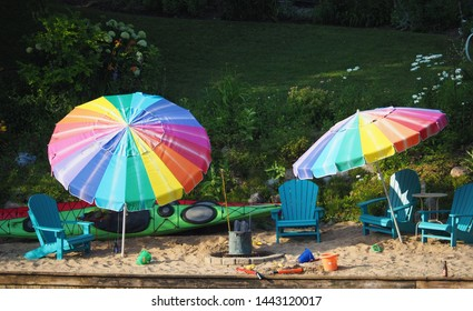Colorful beach chairs and umbrellas
