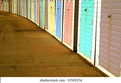 Colorful beach houses at the British seaside.