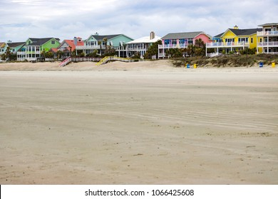 Colorful beach houses on the Isle of Palms, South Carolina