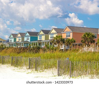 Colorful Beach Houses in Surfside Beach, South Carolina