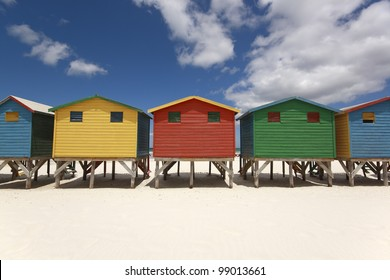 Colorful beach huts (changing cabins) on the Muizenberg Beach near Cape Town.