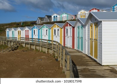 Colorful beach Huts in England