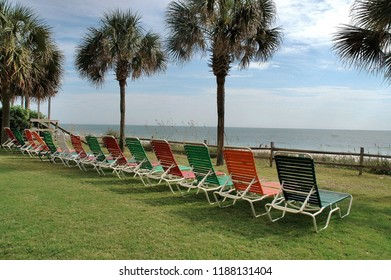 Colorful beach lounge chairs lined up oceanfront.